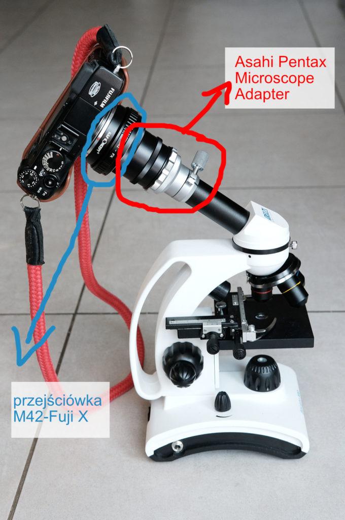 połączenie aparatu z mikroskopem